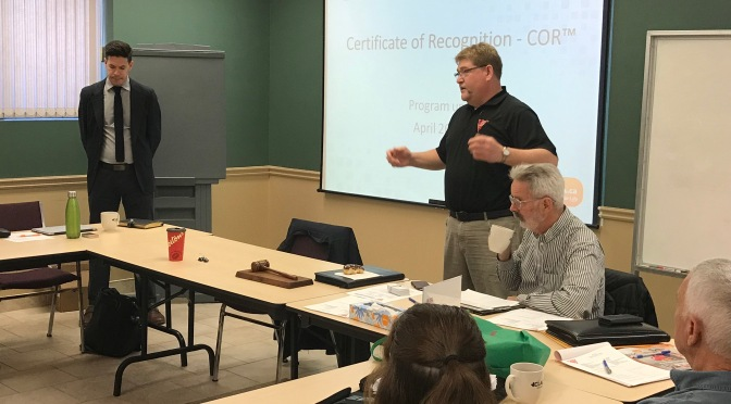 Chris McKean presents on COR at April Chapter meeting