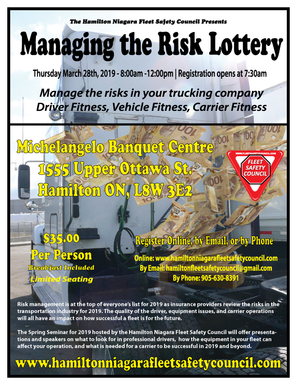 Manage the Risk Lottery Seminar Poster