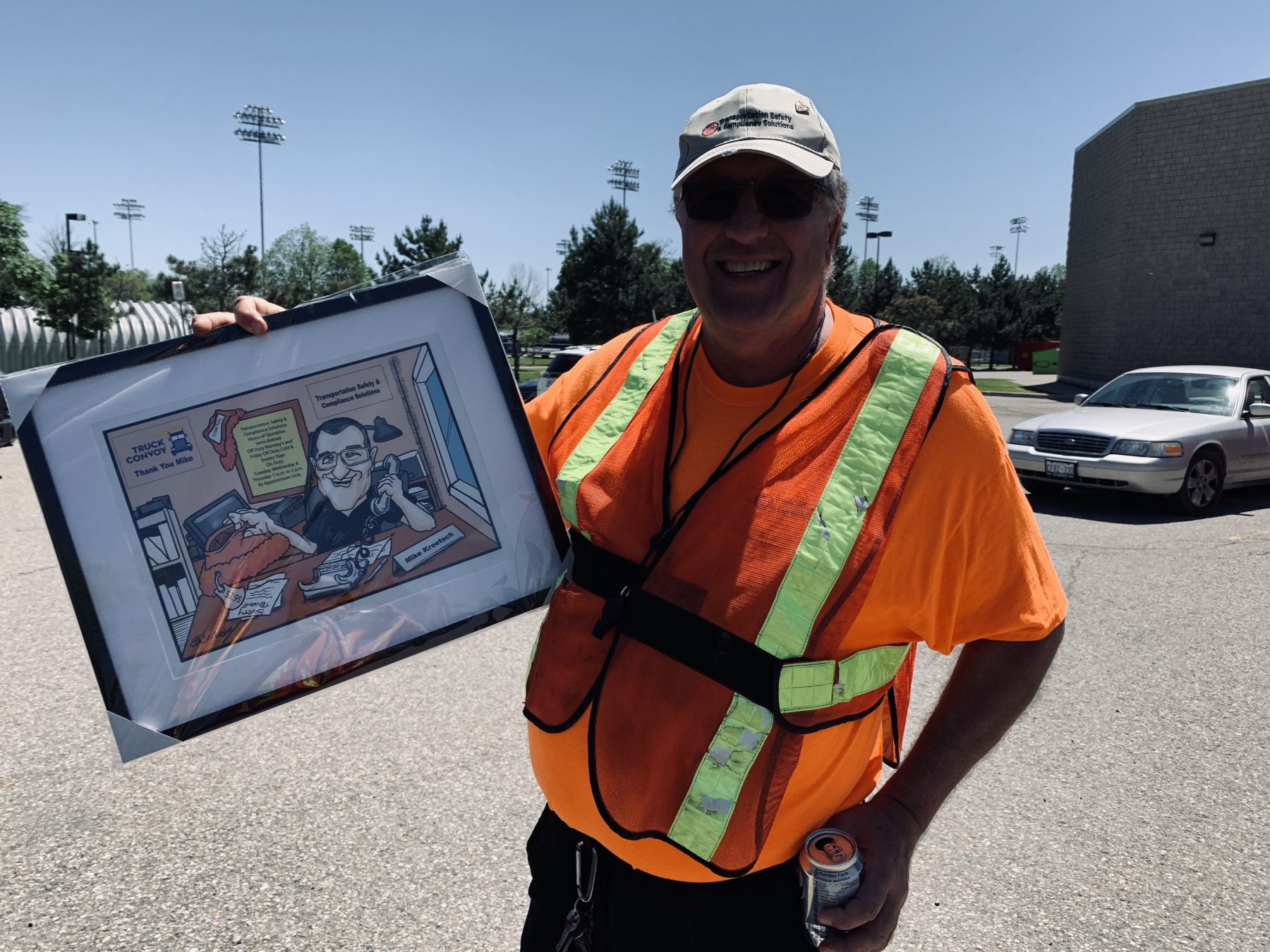 Mike with caricature